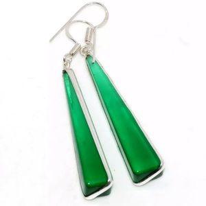 Green Onyx 925 Sterling Silver Artisan Earrings